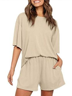 Women's Summer Ribbed Knit Short Sleeve Top And Shorts Two Piece Loungewear Sleepwear Pajama Sets With Pockets