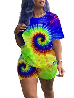 KIRJAUDU Women Casual 2 Pieces Outfit Tie Dye Short Sleeve T-Shirts Pajama Sets Bodycon Shorts Set Jumpsuit Rompers