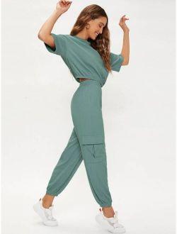 Drop Shoulder Solid Top & Flap Pocket Pants Set