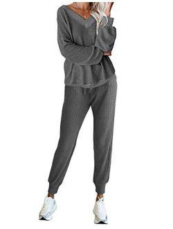 LYHNMW Women's Pajama Set 2 Piece Outfit Waffle Knit V-Neck Sweatsuits Jogger Pants Tracksuits Lounge Set