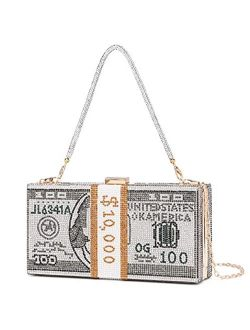 Dollar Clutch Purse for Women from Covelin, Rhinestone Evening Handbag Money Bag