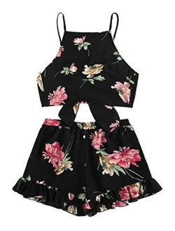 Women's 2 Piece Floral Print Ruffle Lace Up Front Crop Cami Top And Shorts Set