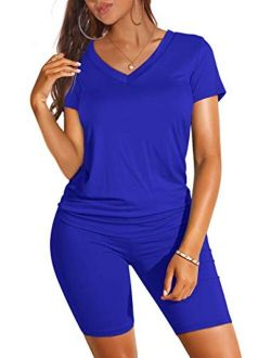 WIHOLL Two Piece Outfits for Women Short Sleeve V Neck Biker Shorts Set