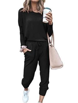 Women's Solid Color Two Piece Outfit Long Sleeve Crewneck Pullover Tops And Long Pants Sweatsuits Tracksuits