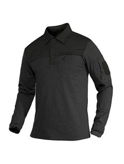 Men's Polo Shirts With 2 Zipper Pockets Loop Patches Cotton Tactical Shirts For Work, Fishing, Golf, Hiking