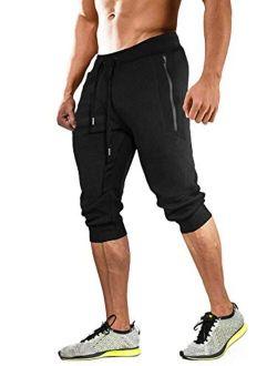 MAGCOMSEN Men's 3/4 Joggers Capri Pants with Zipper Pockets Slim Fit Training Running Workout Capri Joggers