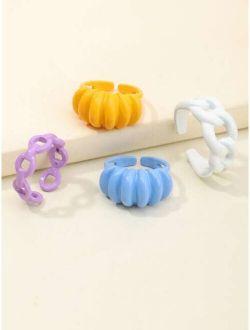 4pcs Girls Chain Design Cuff Ring