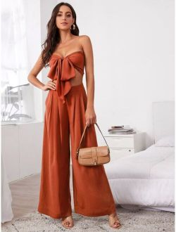 Tie Front Tube Top & Pleated Wide Leg Pants Set
