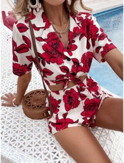 Knot Hem Floral Print Blouse With Shorts