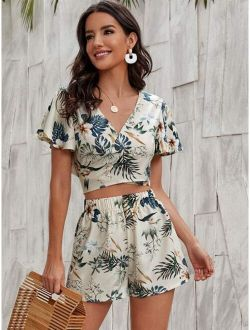 Floral And Tropical Print Crop Wrap Top With Shorts