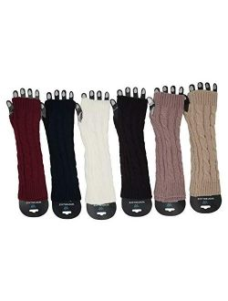 Arm Warmers, 6 Pairs for Women, Cable Knit Warm Winter Sleeve Fingerless Gloves, Premium