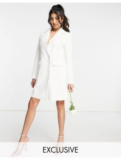 Y.A.S Exclusive Bridal blazer dress in white