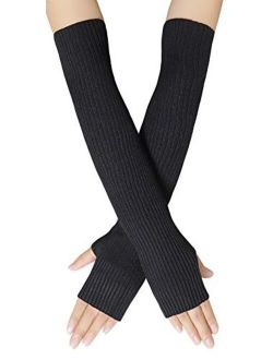 Bellady Women Knit Soft Fingerless Gloves Arm Warmers Extra Long Gloves
