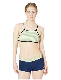 Women's Laser Stripe High Neck Bikini Swimsuit Set