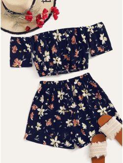 Floral Off-the-Shoulder Crop Top & Shorts Set