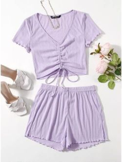 Ruched Knot Lettuce Trim Crop Tee & Shorts Set