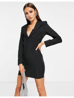 Lavish Alice corset detail blazer dress in black