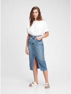 Denim Midi Pencil Skirt with Washwell™