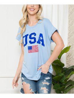Acting Pro Blue 'USA' Flag Tee - Women & Plus