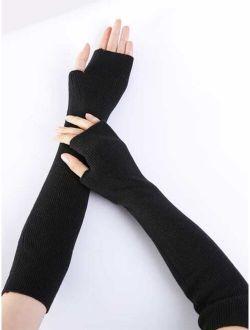 1pair Solid Long Fingerless Gloves