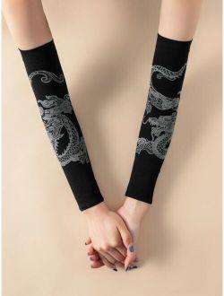 Chinese Dragon Print Long Gloves