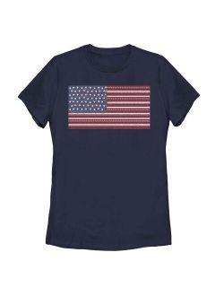 Junior Round Neck Short Sleeve American Patriotic Flag Tee