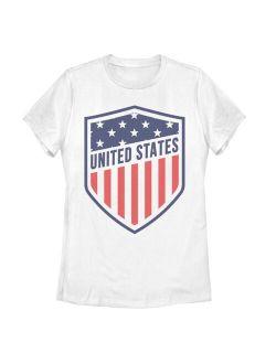 Juniors Round Neck Short Sleeve Shield Patriotic Logo Flag Tee