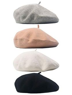Trounistro 4 Pack Beret Hat French Beret Cap Winter Fashion Solid Color Hat for Women Girls Lady