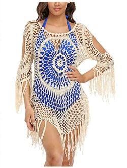 Women's Swimsuit Cover Ups Crochet Hollow Out Tassel Swimwear Beach Dress