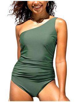 Women's One Piece Swimsuits Shirred One Shoulder Swimwear Asymmetric Bathing Suits Cutout Monokini