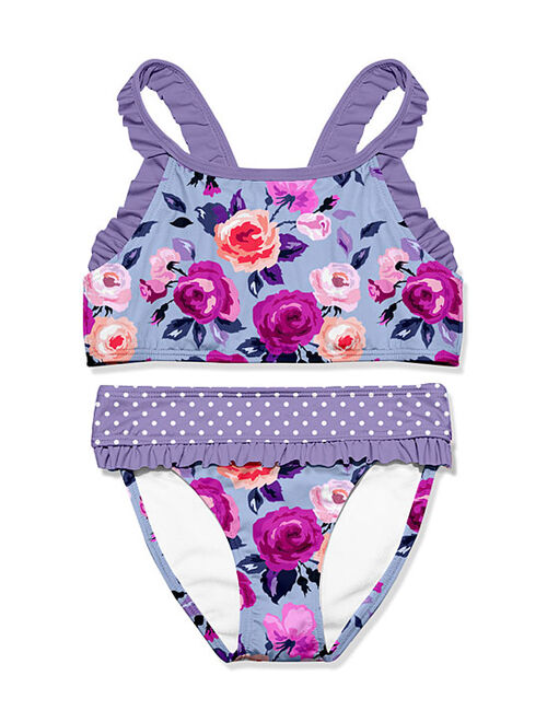 Millie Loves Lily Periwinkle Rose Ruffle Tankini - Infant, Toddler & Girls