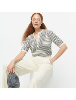 Slub cotton henley T-shirt in stripe