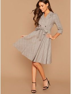 Notched Collar Double Breasted Plaid Dress With Belt