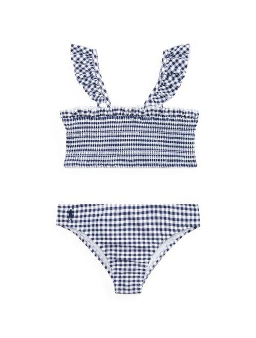 Polo Ralph Lauren Little Girls Gingham Swimsuit, 2 Pieces