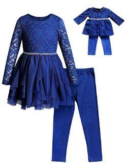 Dollie & Me Girls Size 4-14 Royal Blue Lace Cascade Tunic Leggings Set