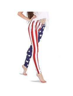 Alexandra Collection Women's Patriotic American Flag USA Athletic Workout Leggings