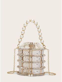 Faux Pearl & Rhinestone Decor Bucket Bag