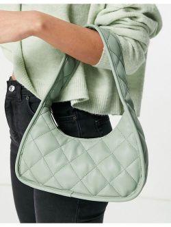 Curved Shoulder Bag In Padded Quilt In Sage Green