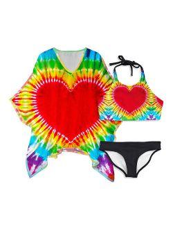 Pixie Girl Red Tie-Dye Heart Bikini & Cover-Up Set - Girls