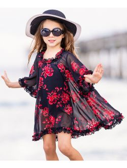 Mia Belle Girls Black & Red Sheer Floral Ruffle-Trim Caftan Cover-Up - Toddler & Girls