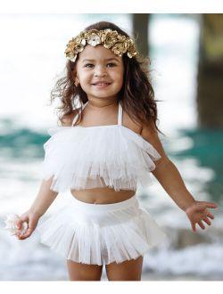 Mia Belle Girls White Mesh Ruffle Skirted Bikini - Toddler & Girls