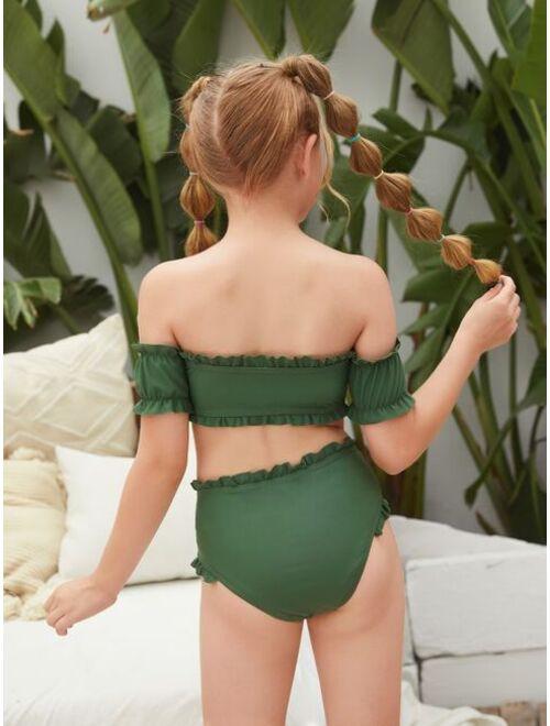 Shein Girls Frill Off The Shoulder Bikini Swimsuit