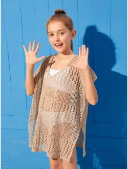 Girls Hollow Out Crochet Cover Up