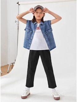 Boys Button Waist Straight Leg Jeans