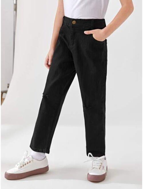 Shein Boys Button Waist Straight Leg Jeans