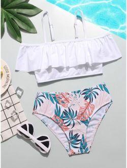 Girls Tropical Ruffle Hem Bikini Swimsuit
