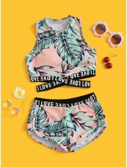 Girls Tropical Letter Tape Shorts Bikini Swimsuit