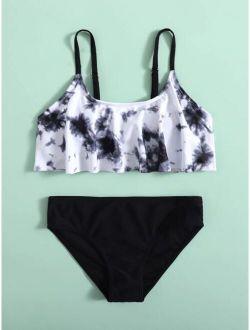 Girls Tie Dye Flounce Bikini Swimsuit