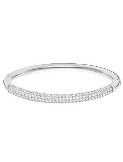 Women's Stone Bangle Bracelet Collection, Rhodium Finish, Clear Crystals