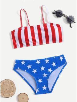 Girls Star and Stripes Print Bikini Swimsuit